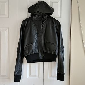 NWT Under Armour Genuine Leather Hoodie Coat small